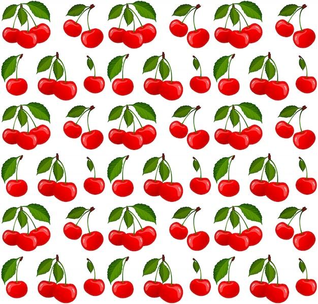 熟したチェリーの果実ベクトルとのシームレスなパターン