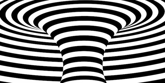 抽象的な黒と白の波状の縞模様の背景。