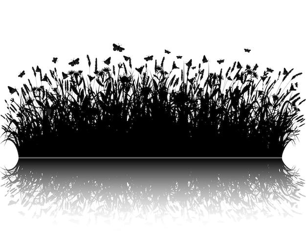 草シルエットベクトル