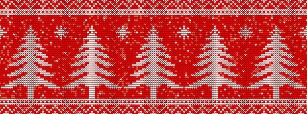 クリスマスツリーと赤の編み物のシームレスなパターン背景