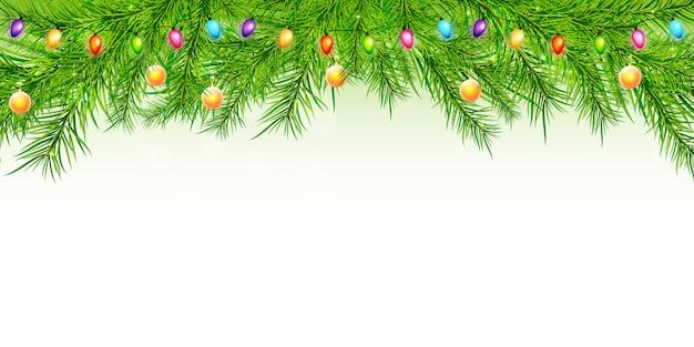 クリスマスの背景にブランチ、ボール