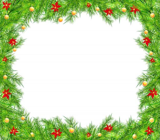 Рождественский фон с ветвями и шарами