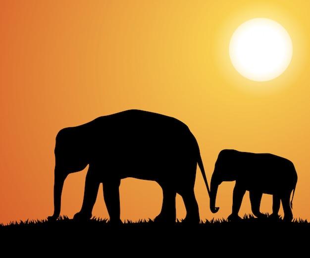 Силуэты слонов в африке