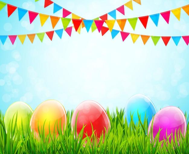 Пасха фон с красочными яйцами в зеленой траве и флаги