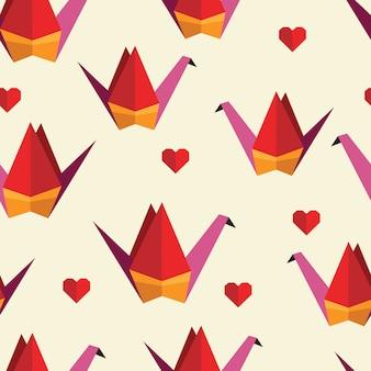 折り紙の鳥とカラフルなシームレスパターン。