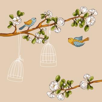 ロマンチックな花の背景。ケージから鳥。春の鳥が枝に飛んで