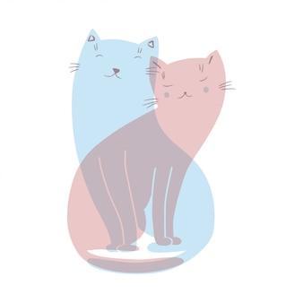 Иллюстрация с двумя влюбленными кошками