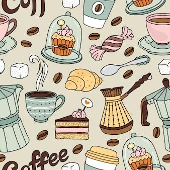 コーヒーと甘いのシームレスパターン。コーヒーの背景