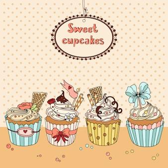 Иллюстрация со сладкими кексами и место для вашего текста
