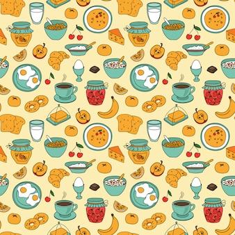 シームレスな朝食パターンベクトル
