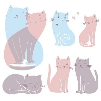 愛の猫と設定ベクトルイラスト