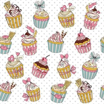 カップケーキとシームレスなパターンベクトル