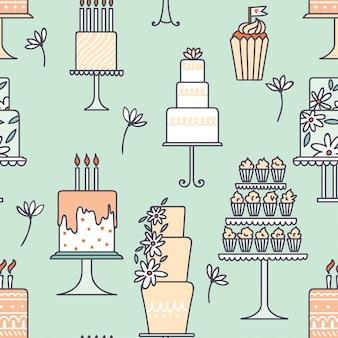 ケーキのシームレスなパターン。ベクトルイラスト