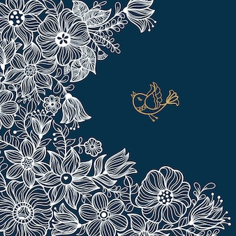 ビンテージ花柄シームレスパターン。ベクトルイラスト