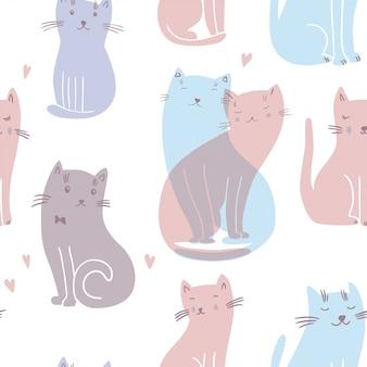 恋猫とのシームレスなパターンベクトル