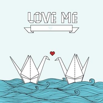 Симпатичная открытка с оригами журавль в любви. может быть использован для приглашения или баннера
