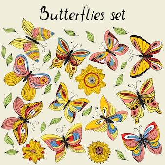 Векторный набор с бабочкой