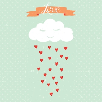 Векторные иллюстрации мультфильм с облаком и дождем сердец.
