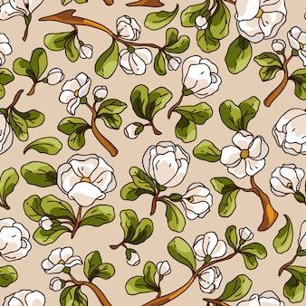リンゴの花のシームレスパターン。美しいベクター手描きの質感。