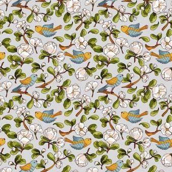リンゴの花と鳥のシームレスなパターンベクトル。美しい手描きの質感。