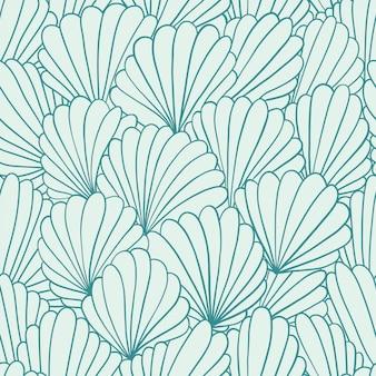Безшовная картина с абстрактными орнаментами раковины. рисованная иллюстрация