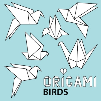 Симпатичная коллекция с птицами оригами. векторный набор