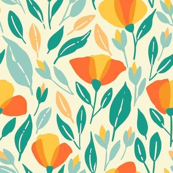野の花のシームレスなパターン。黄色の花を持つベクトルポピーイラスト
