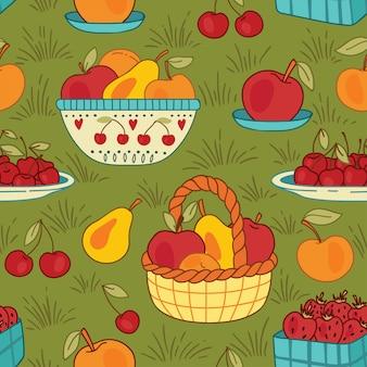 夏のバスケットとフルーツのシームレスなパターン
