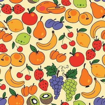 フルーツとシームレスなパターンをベクトル。壁紙に使用できます
