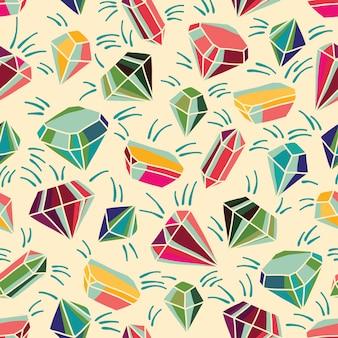 明るい結晶とのシームレスなベクターパターン。カラフルなイラスト