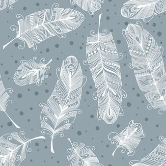 手描きの羽を持つヴィンテージのシームレスパターン