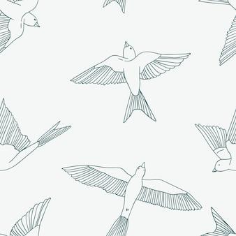 小さなツバメとビンテージのシームレスパターン。