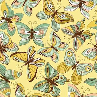 Бесшовный узор вектор с бабочками