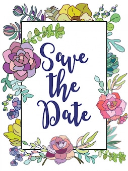 日付を保存。花とウェディングカードフレーム