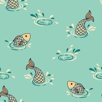 魚とのシームレスなグラフィックパターン