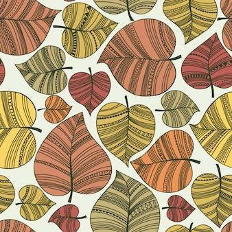 秋のシームレスな葉の模様