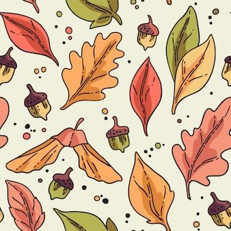 葉とドングリのシームレスパターン