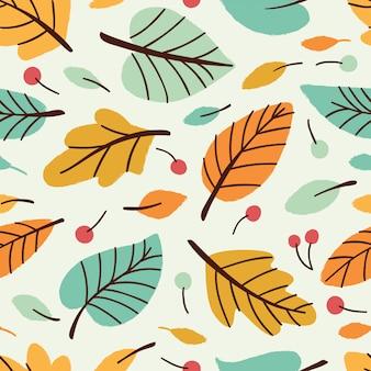 Векторный бесшовный узор с листьями