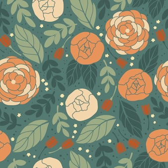 花とシームレスなビンテージパターンベクトル