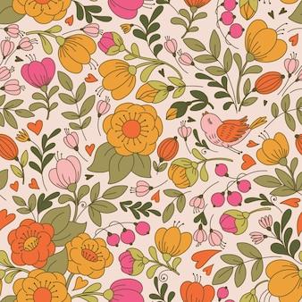 花と鳥とのシームレスなパターンベクトル