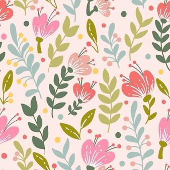 ピンクの花を持つエレガントなシームレスパターン