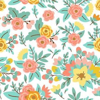 花とエレガントなシームレスパターン