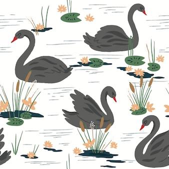 湖の白鳥と美しいシームレスパターン