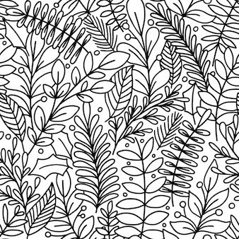 Бесшовный узор с листьями