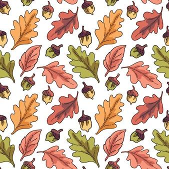 秋の紅葉とのシームレスなベクターパターン
