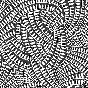 装飾的な装飾様式化された無限の葉を繰り返し抽象的なシームレスパターン。