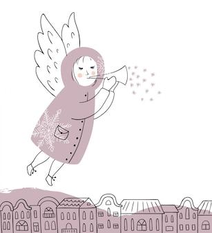 トランペットとクリスマスの天使