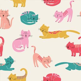 カラフルな猫とかわいいのシームレスパターン