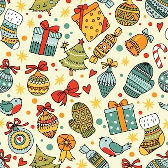 クリスマスのシームレスなパターン。壁紙や包装紙に使用できます