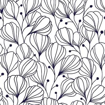 葉と抽象的なシームレスパターン